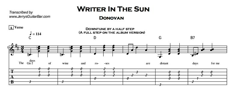 Donovan – Writer In The Sun Tab