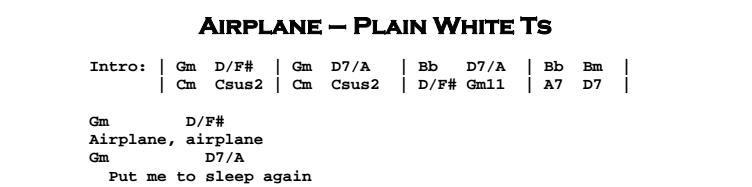 Plain White Ts – Airplane Chords & Songsheet