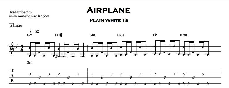 Plain White Ts – Airplane Tab