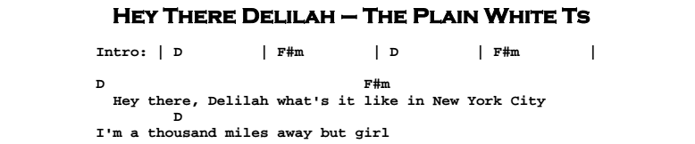 Plain White Ts – Hey There Delilah Chords & Songsheet