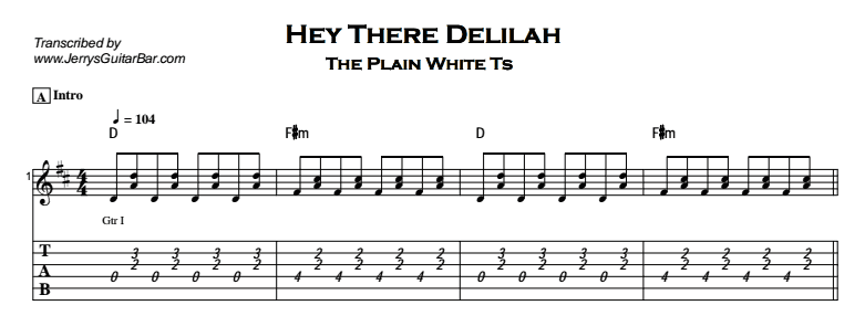 Plain White Ts – Hey There Delilah Tab