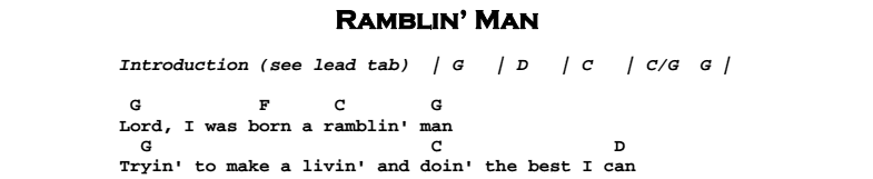 The Allman Brothers Band - Ramblin' Man Chords & Songsheet