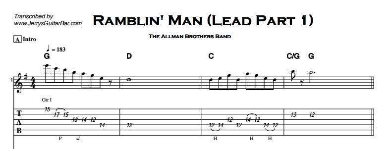 The Allman Brothers Band - Ramblin' Man Tab