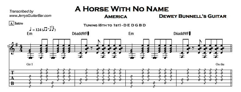 America – A Horse With No Name Tab