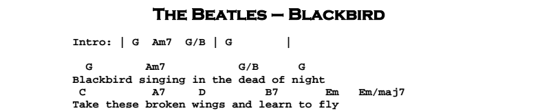 The Beatles - Blackbird Chords & Songsheet