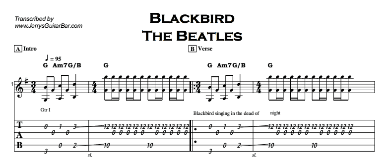 The Beatles - Blackbird Tab