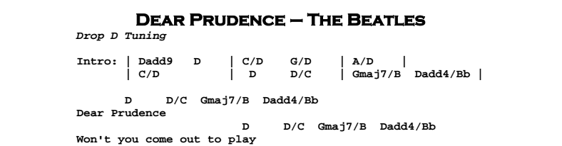 The Beatles – Dear Prudence Chords & Songsheet