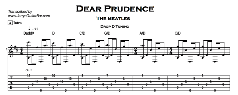 The Beatles – Dear Prudence Tab