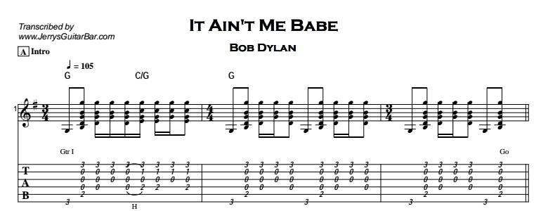 Bob Dylan – It Ain't Me Babe Tab