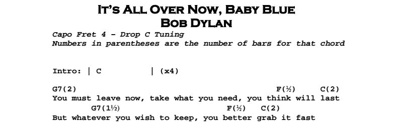 Bob Dylan – It's All Over Now, Baby Blue Chords & Songsheet