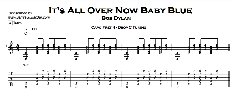 Bob Dylan – It's All Over Now, Baby Blue Tab