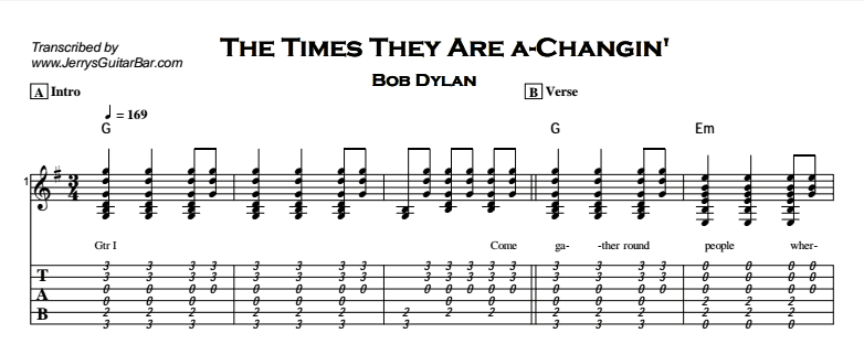 Bob Dylan – The Times They Are a-Changin' Tab