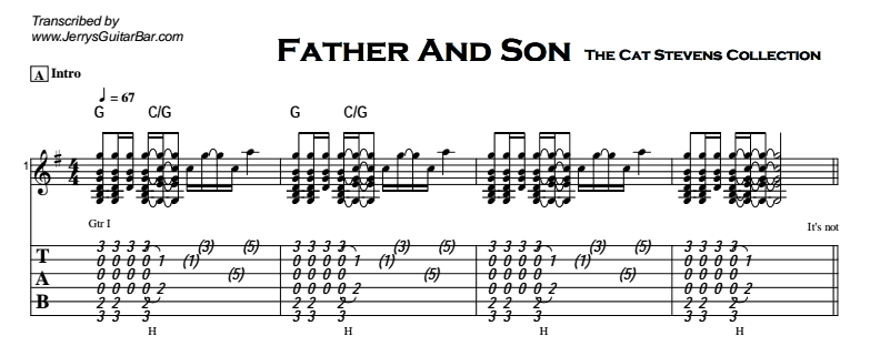 Cat Stevens Father And Son Guitar Lesson Tab Chords Jgb