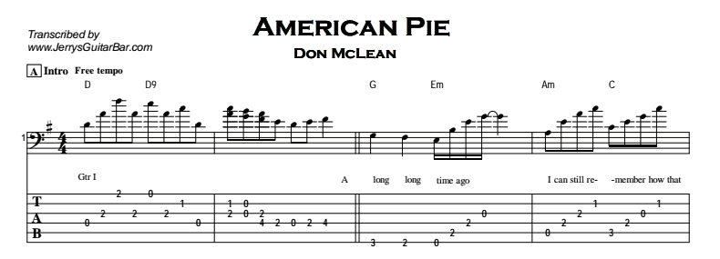 Don Mclean American Pie Guitar Chords