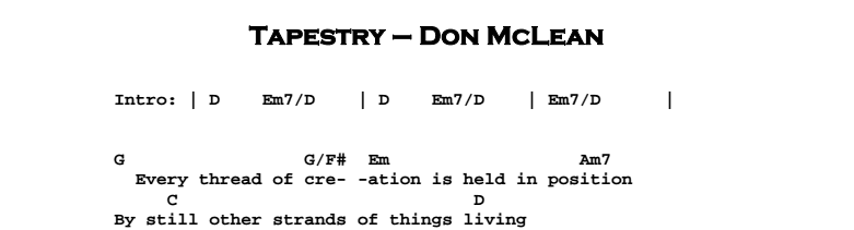 Don McLean - Tapestry Chords & Songsheet