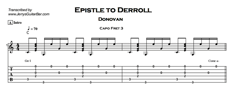 Donovan – Epistle to Derroll Tab