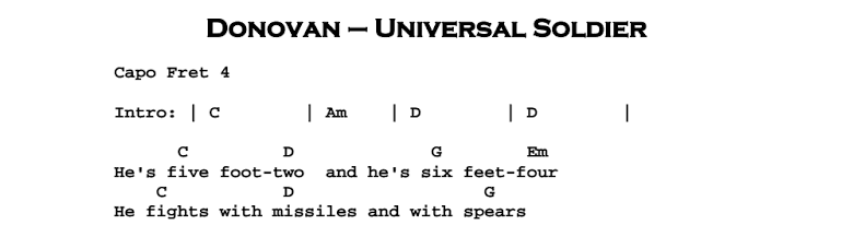 Donovan - Universal Soldier Chords & Songsheet