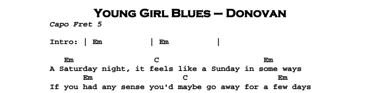 Donovan – Young Girl Blues Chords & Songsheet