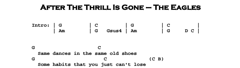 The Eagles – After The Thrill Is Gone Chords Songsheet