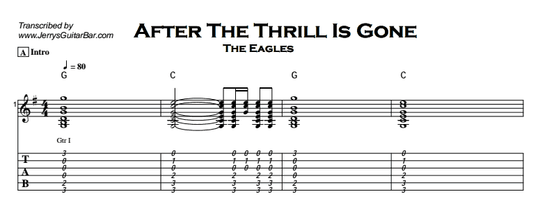 The Eagles – After The Thrill Is Gone Tab