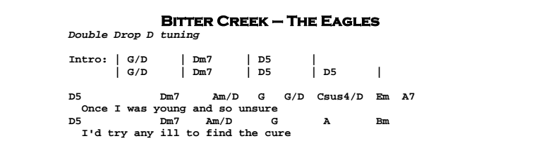 The Eagles – Bitter Creek Chords Songsheet