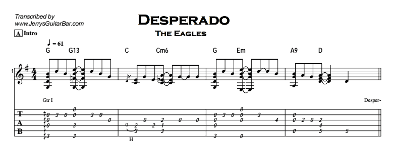 The Eagles – Desperado | Guitar Lesson, Tab & Chords | JerrysGuitarBar