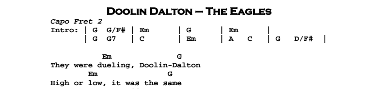 The Eagles - Doolin Dalton Chords & Songsheet