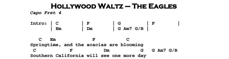 The Eagles – Hollywood Waltz Chords & Songsheet
