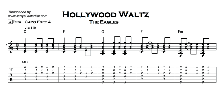 The Eagles – Hollywood Waltz Tab