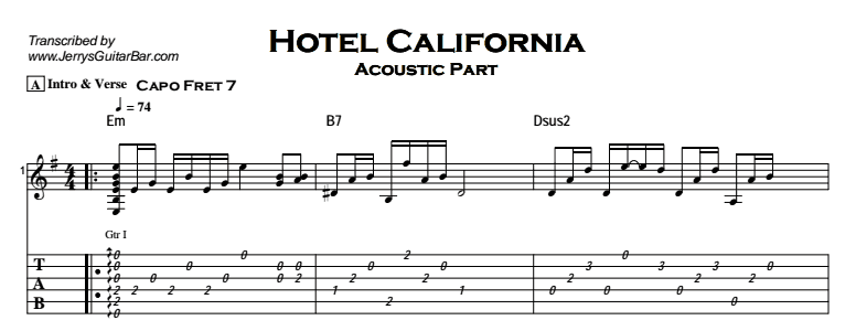 The Eagles – Hotel California Tab