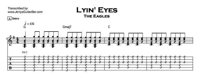 The Eagles – Lyin\' Eyes | Guitar Lesson, Tab & Chords | Jerry\'s ...