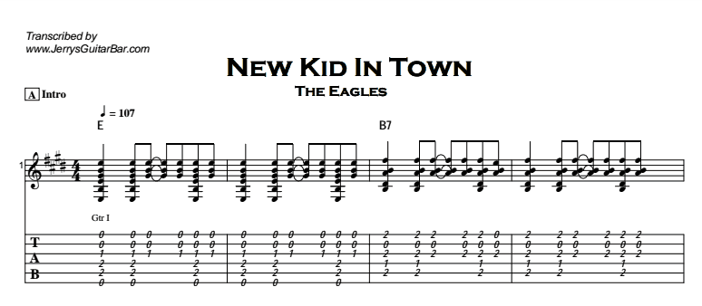 The Eagles – New Kid In Town Tab