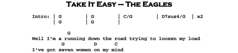 The Eagles – Take It Easy Chords & Songsheet