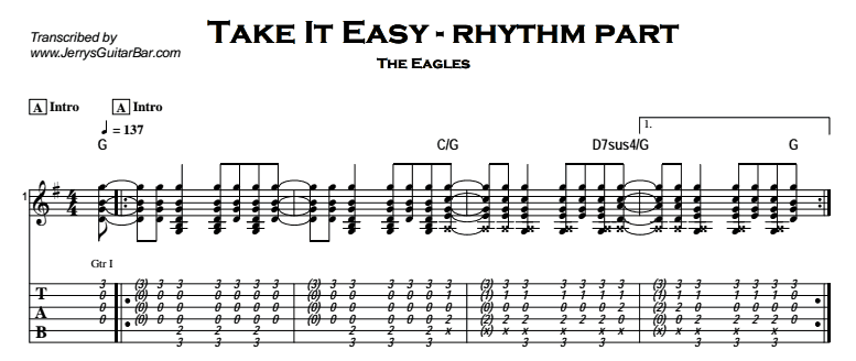 The Eagles – Take It Easy Tab