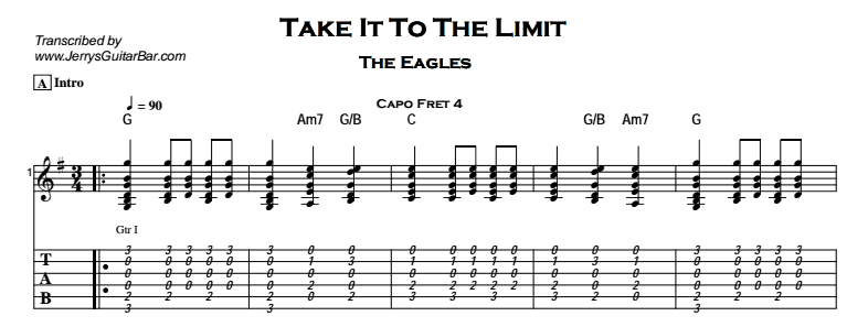 The Eagles – Take It To The Limit - Guitar Lesson by Jerry\'s Guitar Bar