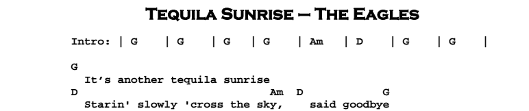 The Eagles – Tequila Sunrise Chords & Songsheet