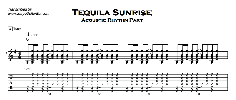 The Eagles – Tequila Sunrise Tab