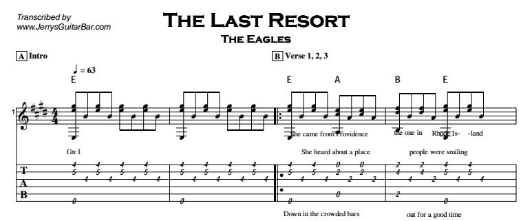 The Eagles – The Last Resort Tab