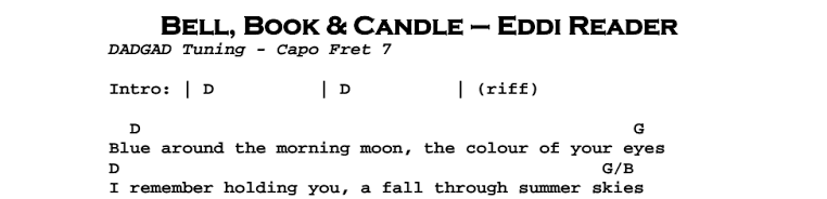 Eddi Reader – Bell, Book and Candle Chords & Songsheet