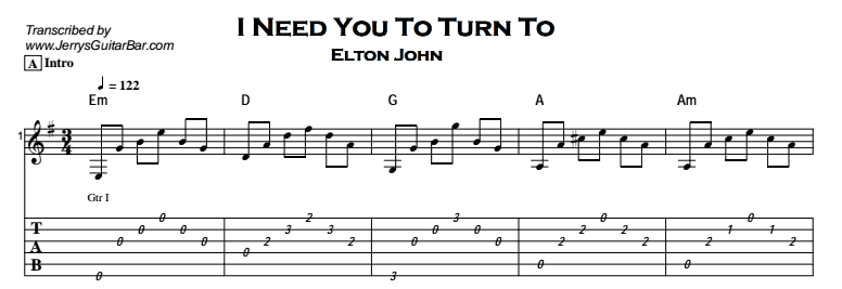 Elton John u2013 I Need You To Turn To - Jerryu0026#39;s Guitar Bar
