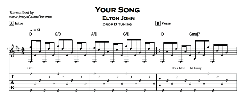 elton john your song guitar lesson tab chords jerry 39 s guitar bar. Black Bedroom Furniture Sets. Home Design Ideas