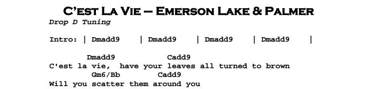Emerson Lake & Palmer – C'est La Vie Chords & Songsheet