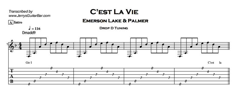 Emerson Lake & Palmer – C'est La Vie Tab