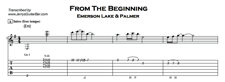 Emerson, Lake and Palmer – From The Beginning Tab