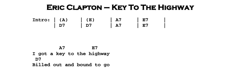 Eric Clapton - Key To The Highway (acoustic) Chords & Songsheet