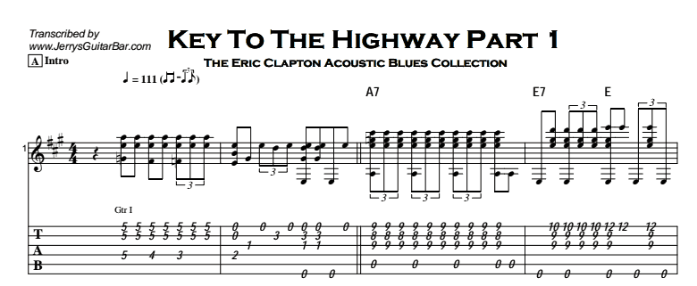 Eric Clapton - Key To The Highway (acoustic) Tab