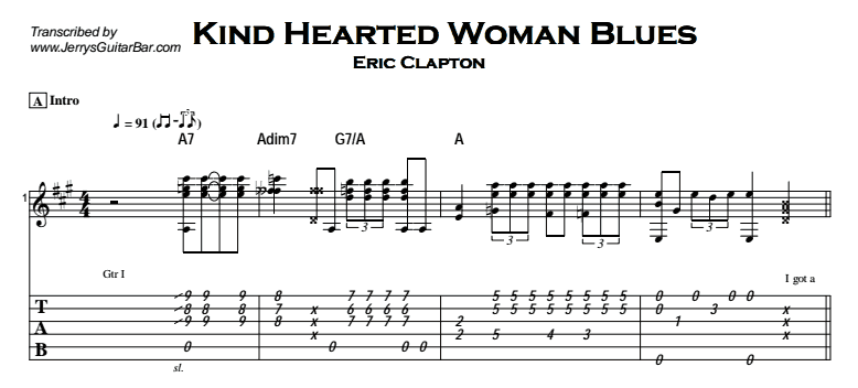 Eric Clapton - Kind Hearted Woman Blues Tab