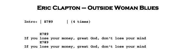 Eric Clapton - Outside Woman Blues Chords & Songsheet