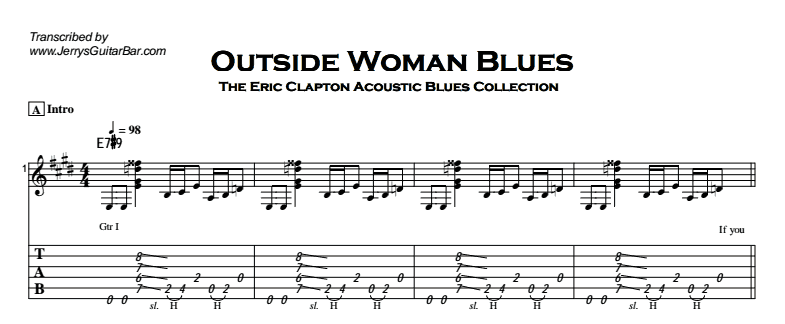 Eric Clapton - Outside Woman Blues Tab