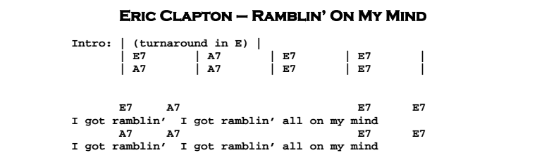 Eric Clapton - Ramblin' On My Mind Chords & Songsheet